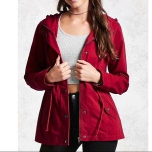 Deep Brick Red Zippered Utility Jacket